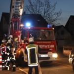 Die Drehleiter war bei einem Hotelbrand in Neuthard im Einsatz